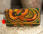 Handcrafted Boho Wallet with Hmong Tribal Embroidered Pom Pom Zip Pull Fair Trade Purse for Women - WA301ORGB