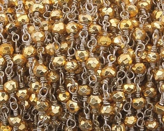 MEGA SALE Gold pyrite Rosary Style Beaded Chain -- Beads wire wrapped 925 Silver Plated chain per foot BD056