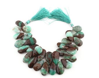 Clearance Sale 1 Strand Bio Chrysoprase Faceted Pear Drop Beads Briolettes - 18mmx13mm-25mmx15mm 8.5 Inches SB224