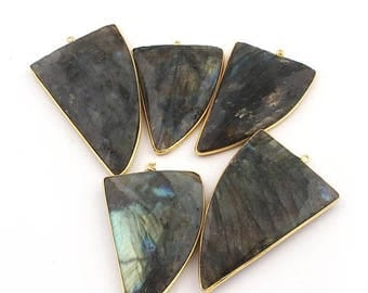 Valentine Day 5 Pcs Labradorite Faceted Horn 24k gold plated Single Bail Pendant - Labradorite Horn Pendant 53mmx34mm-68mmx38mm Bc-690