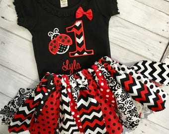 Personalized Ladybug 1st First Birthday Shirt or Bodysuit + Fabric Tutu Outfit