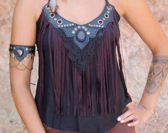 NECKLACE TOP • Leather fringes lace cotton black