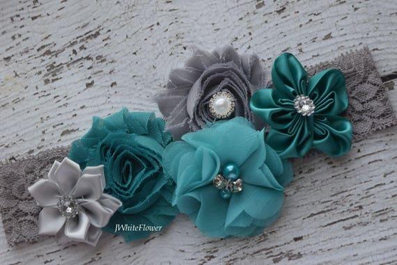 Teal grey  Shabby Flowers Baby Headband,#2, Newborn Headband,  Infant Headband,Baby Headband, Headband Baby