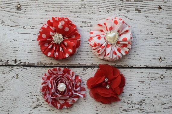 Valentine Flower Baby clip, red Newborn clip,  Infant Headband,Baby Headband, Headband Baby, Baby Headband, baptism  headband
