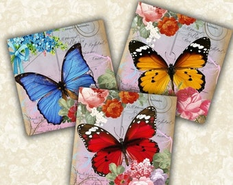 SALE 50% Digital Collage Sheet Shabby Chic Butterfly Printable download 3.8x3.8 inch size Images for coasters, paper craft, home decoration,