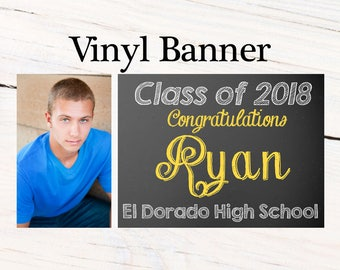 Graduation Photo Banner ~ Personalized Party Banners, Class of 2018 Banner, Chalckboard Graduation Banner, Custom Grad Banners, Vinyl Banner