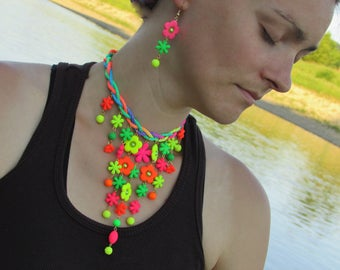 Super colorful and joyful summer flower jewelry set, Shining colorful jewelry set, Flower jewelry set, Summer jewelry set
