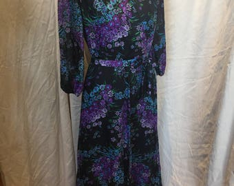 70s purple floral maxi dress