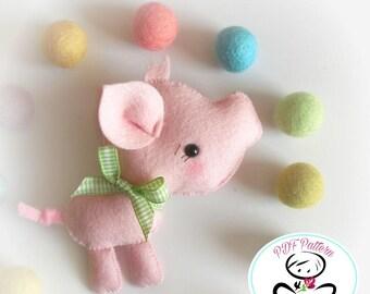 Ferdy the Piglet-PDF Sewing Pattern-DIY-Felt piggy Toy Pattern-Baby pig-Nursery Decor-Pig Ornament-Baby's mobile toy-Farm animals