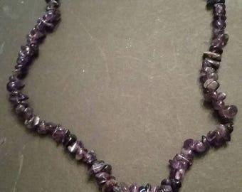 SALE Vintage Purple Stone Necklace Chip Amethyst Jewelry