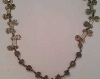 Vintage Labradorite Silver Scroll Southwestern Necklace