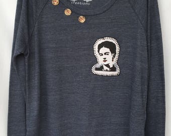 Frida Long Sleeve Hand Stitched Blouse. Frida Heather Blue Color Long Sleeve Top. Gift Friendly