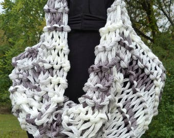 Gray and White Scarf/Hood - Knit