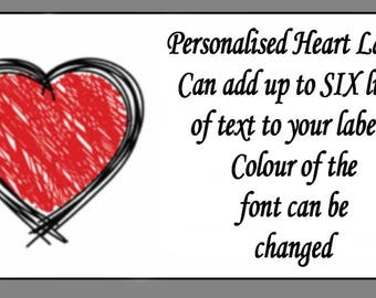 Personalised Scribble Heart Mini Labels x 65 labels