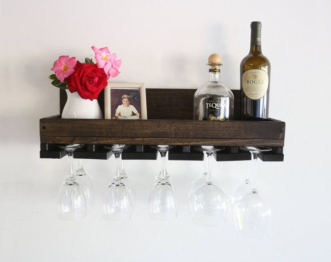 "24"" Rustic Wood Wine Rack Shelf & Hanging Stemware Holder Bar Organizer Rack"