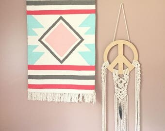 Peace and love dream catcher/macrame wall hanging/macrame peace