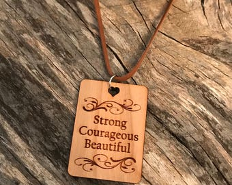 Strong Courageous Beautiful Necklace, Laser Engraved Cherry Wood, Group Gift Ideas, Group Discounts, Wedding Gifts, Laser Engraved, Bursting