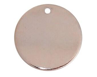 Metal Gravurplättchen, blank pendant, Trailer disc,-5 PCs.-Ø 15 mm-Color selectable (color: Rose gold)