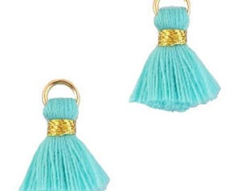 Beaded tassels, tassels, tassel pendant-1.5 cm-3 pcs.-Color selectable (color: Turquoise 2)