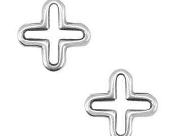 "DQ metal pendant, jewellery connector-""Cross""-2 pcs.-Zamak-color selectable (color: silver)"