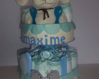 """Bears in love"" diaper cake"