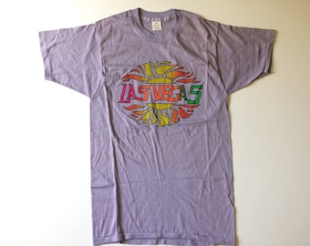 Vtg. LAS VEGAS Purple Vintage Thin Soft T-Shirt / Size Large