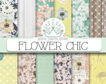 """Floral digital paper: """"FLOWER CHIC"""" with  flowers digital paper, flower scrapbook paper, floral background in mint, green for planners, card"""