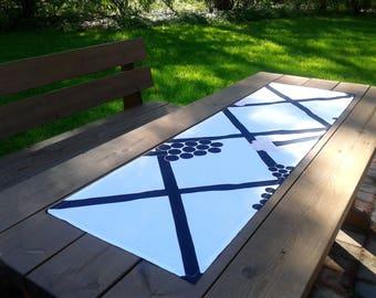 Modern Black And White Table Runner From Marimekko Linen Fabric Hortensie,  Narrow Tablecloth Centerpiece Topper