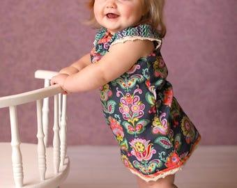 "Boho ""Free Spirit"" Dress with lace trim - Bright Hearts Size 1,18m,2,3,4,5,6"