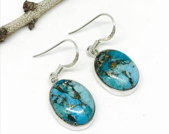 Blue mojave copperTurquoise earrings set in sterling silver 92.5. Genuine natural stones. Perfectly matched.