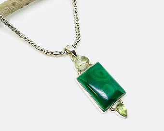 10% Malachite, peridot, green amethyst multistone pendant, necklaces set in sterling silver(92.5). Natural authentic stones.