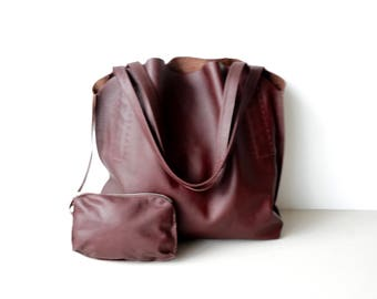 Red Brown Leather Shoulder Bag / Slouchy Hobo Bag / Buffalo Leather / Unlined