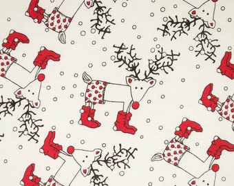 Christmas reindeer knit fabric by the yard, knit pajama fabric, red white gray holiday knits, red nose reindeer knit fabric, cotton jersey