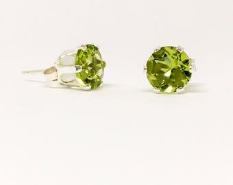 6mm Peridot gemstone and sterling silver stud earrings - August birthstone