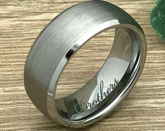 8mm Tungsten Wedding Ring, Personalize Custom Engrave Tungsten Carbide Ring, Brushed Finish Ring, Anniversary Ring, Father's Day Gift-tcr224