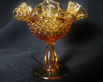 Fenton Art Glass Candy Dish- amber color, crimped ruffled rim hobnail design. Circa 60's - 70's piece is highly collectible.  A Great Gift!