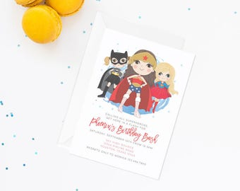 girl superhero invitation, superhero invitation, superhero party, superhero birthday, wonder woman invite