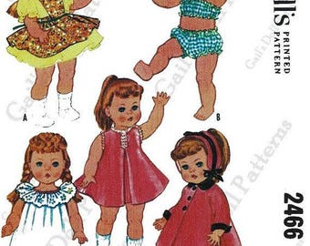 "1961 McCalls Doll Clothes Pattern #2466 for 12"" - 13"" Toddler or Little Girl Doll"