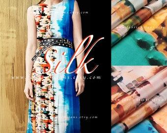 Printed silk blue silk crepe by the yard - achat crepe de soie au metre