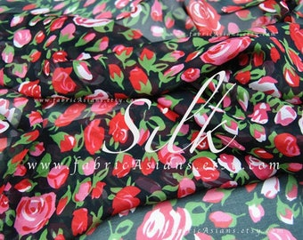 Red silk chiffon rosebuds fabric by the yard - achat mousseline de soie