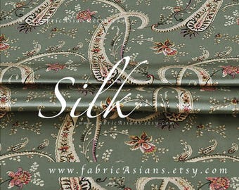 Paisley fabric olive green silk by the yard