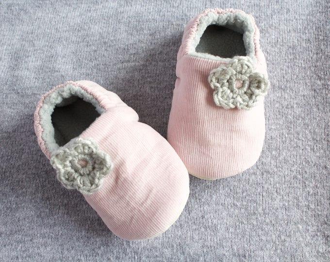 Pink soft corduroy pre walker & Toddler shoe with grey crochet flowers