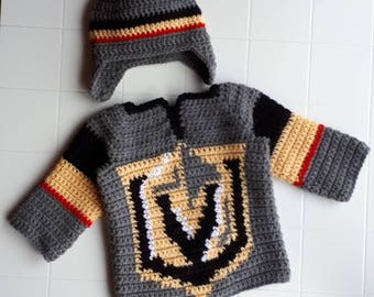 Vegas Golden Knights Baby Hockey Sweater and Hat