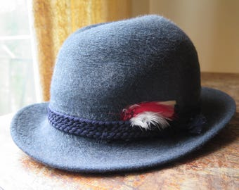 Royal Lee Genuine Fur Felt Hat Beaver Finish man/woman vintage Hat feathers blue grey
