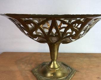 Vintage brass filigree bowl modern