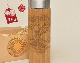 Customized Thermos Engraved Bamboo Wood OLIVIER Stainless Steel with Screw Lid