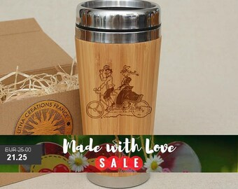 Customized Engraved Bamboo Wood Coffee Tea Travel Mug ''Tandem'' Car Desk Cup Stainless Steel with Mounted Plastic Lid