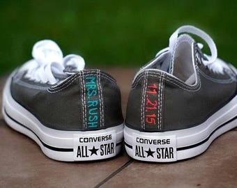 Custom Wedding Converse, Bride and Groom's Hand Painted Wedding Converse, Name, Date,  Classic colors, Custom Wedding Shoes, Converse