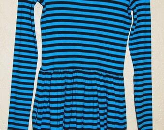 vintage 90's origianl BETSEY JOHNSON ARCHIVE Skater dress sz small Betsey Johnson Archive Punk Turquoise and Black Wiggle Dress