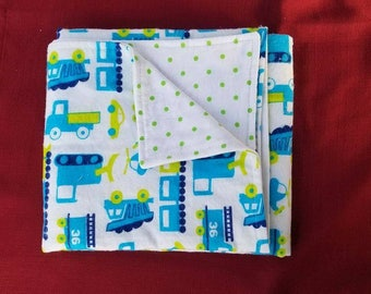 Flannel Blanket, Baby Blanket, Trucks, Boy, Blue, Green, Soft, Cuddly, Handmade, Reversible, Double Layer